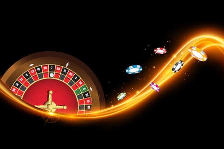 Casino banner with roulette, poker chips. Vector illustration the wheel fortune in casino Ilustração