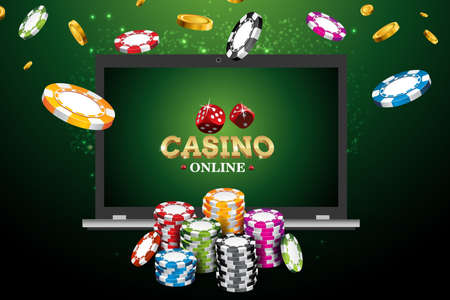 Online casino poster. Modern laptop concept. Vector illustration jackpot advertising concept.