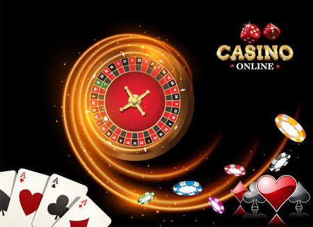 Black fiery design casino banner with roulette, poker chips, playing cards. Vector illustration the wheel fortune in casino 矢量图像