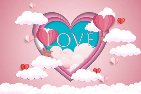 Happy Valentines day design with paper cut heart shape, flying balloon and clouds. Vector illustration greetings card with text Love