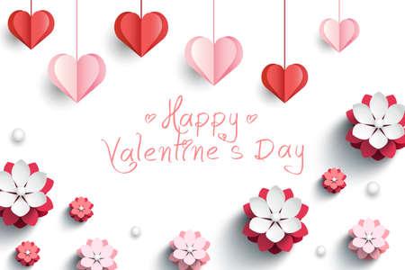 Carta di San Valentino con cuori di carta decorativa e fiori rosa. Illustrazione vettoriale Vettoriali