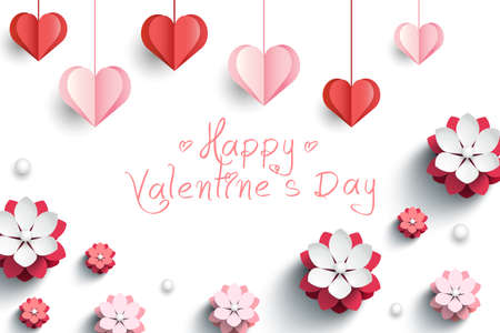 Valentines card with decorative paper hearts and pink flowers. Vector illustration