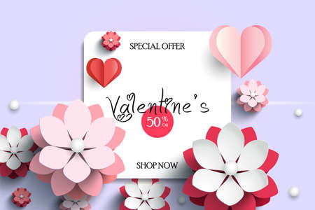 Valentines day sale background with flowers and hearts pattern. Vector illustration. Wallpaper, flyers, invitation, posters, brochure, banners.