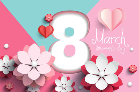 8 March. Women's Day paper cut flowers and hearts on modern geometric background . Vector illustration. Origami floral bouquet