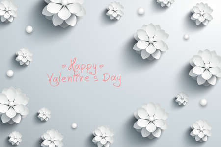 Happy Valentine's day background with paper white flowers. Vector illustration 矢量图像