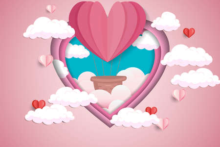 Illustration of love and Valentines day, abstract background with air balloon flying in clouds, paper cut pink heart. Vector illustration of a Womens day