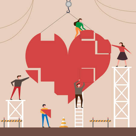 Small people character collect heart from parts. Vector concept illustration flat design