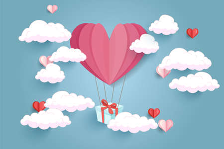 design of love, valentines day and women's day. Balloon heart shape hang the gift box float on the sky. 矢量图像