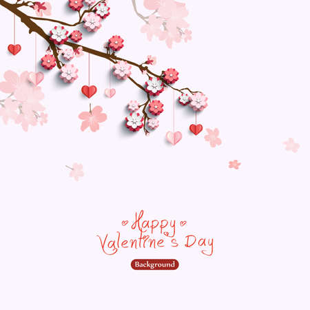 Valentines card with decorative paper hearts and pink flowers on sakura branch. Vector illustration love creative concept Ilustração