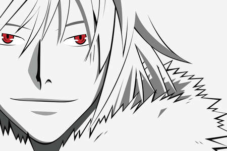 Anime face with red eyes from cartoon. Web banner for anime, manga on white background.