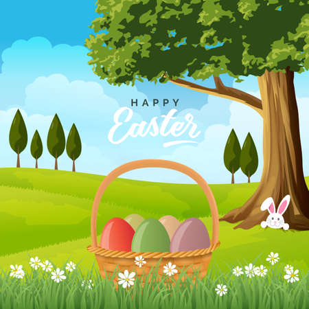 Easter card with basket of eggs, bunny rabbit in burrow on spring landscape. Stock Illustratie