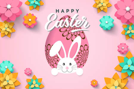 Easter card with paper cut egg shape frame with spring flowers on pink background. Vector illustration Easter bunny  イラスト・ベクター素材