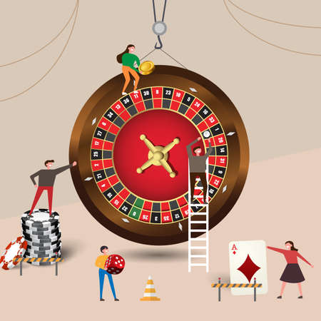 Small people character built roulette casino, wear chips, dice, playing cards. Vector illustration flat design