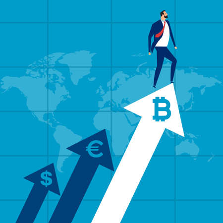 Upwards. Businessman climbs the arrow. Business concept of exchange rates