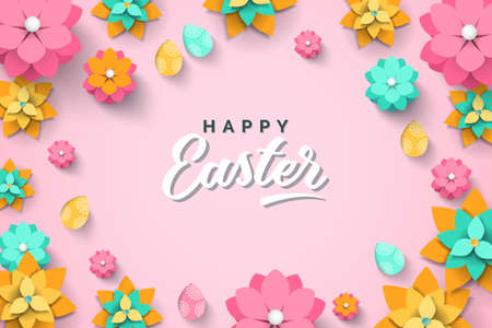 Easter card with paper cut spring flowers on pink background. Vector illustration with Easter eggs