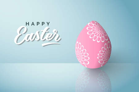 Happy Easter greeting card with pink egg decorated with flower pattern. Vector illustration