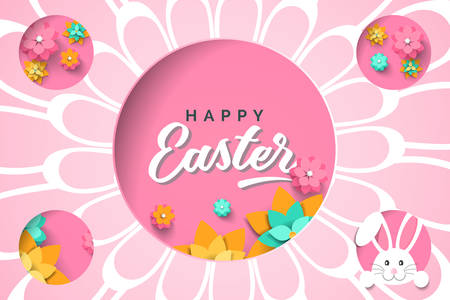 Easter card with cutout frame in shape circle with paper spring flowers on pink background. Vector illustration Easter bunny