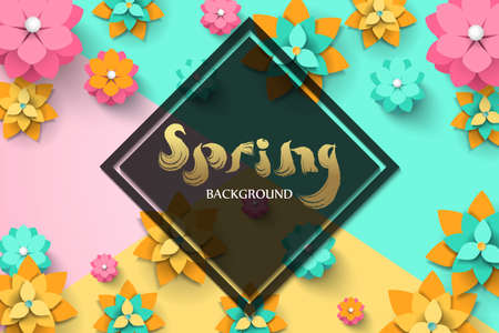 Spring template with paper cut flowers with frame. Bright colorful geometric background. Fresh design for posters or vouchers. Vector illustration  イラスト・ベクター素材