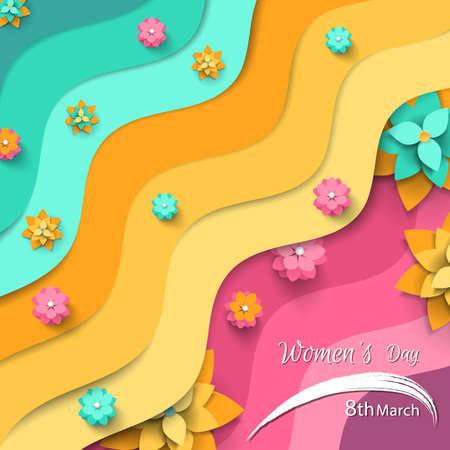 Happy Womens day greeting card with abstract paper cut flowers and wavy shapes on colorful background. Vector illustration carving art.