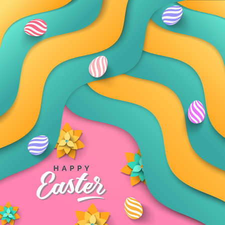 Easter card with paper cut spring flowers. Vector illustration with Easter eggs on colorful wavy background.  イラスト・ベクター素材