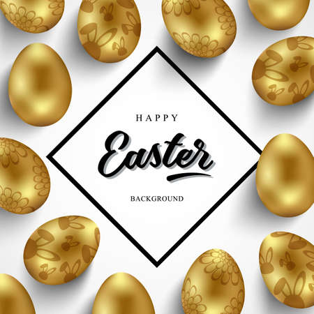 Easter card with rhombus frame and gold ornate eggs on white background. Place for your text. Golden eggs with curls and rabbits