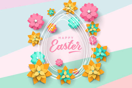 Easter card with egg shape frame and paper cut flowers on modern background
