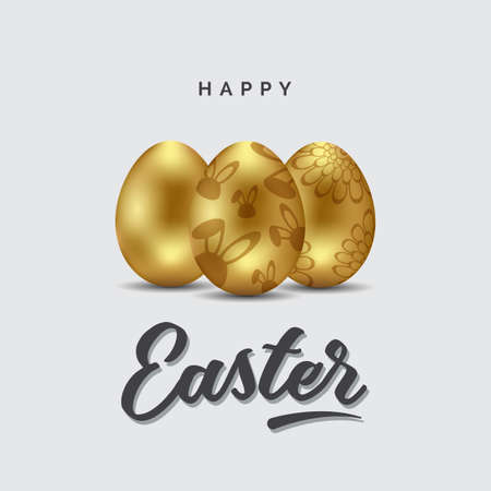 Happy Easter greeting card, golden eggs with floral pattern, rabbit imprint. Vector illustration
