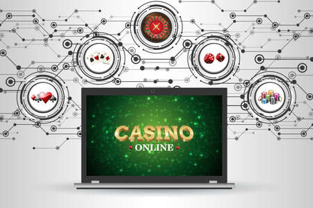 Background with elements of gambling for the casino. Vector illustration roulette, playing cards, dice, chips