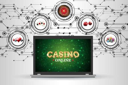 カジノのためのギャンブルの要素を持つ背景。ベクトルイラストルーレット、トランプ、サイコロ、チップス