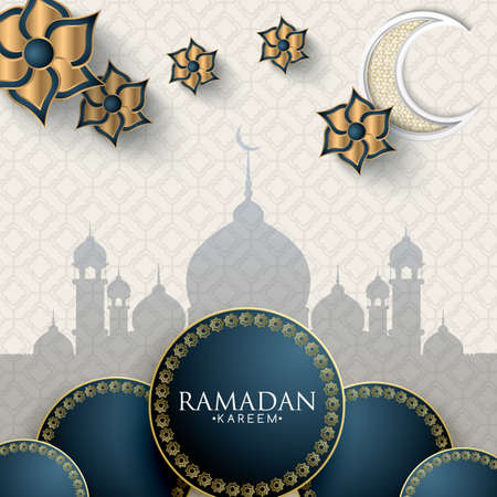 Ramadan Kareem concept banner with islamic geometric patterns. Paper cut flowers, moon on light background. Vector illustration.  イラスト・ベクター素材