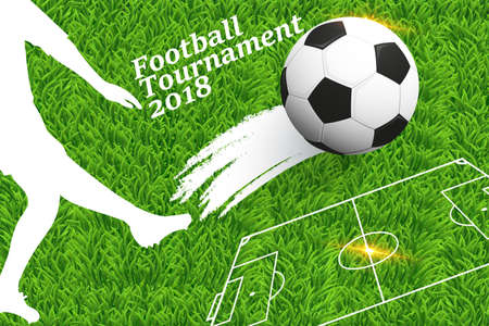 Vector illustration of a football background with ball. Design of a stylish background for the soccer championship