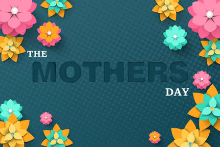 Happy Mothers day greeting card. Paper cut style with blooming flowers, leaves and abstract shapes on blue background. Vector illustration.