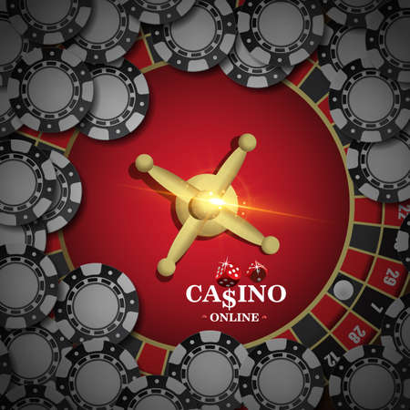 Design casino banner with top view on roulette and poker chips. Vector illustration the wheel fortune in casino