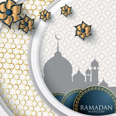 Ramadan Kareem islamic design silhouette of a mosque with arabic pattern