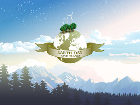 Vector illustration the concept of the Earth day, save the planet, save energy, the hour of the Earth