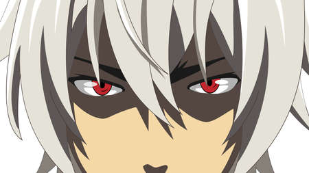 Cartoon face with red eyes on white background. Web banner for anime, manga in japanese style. Vector illustration 矢量图像
