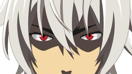 Cartoon gezicht met rode ogen op witte achtergrond. Webbanner voor anime, manga in Japanse stijl. Vector illustratie Vector Illustratie