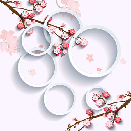 Pink flowers on sakura branch in interlacing with geometric circles. Vector illustration
