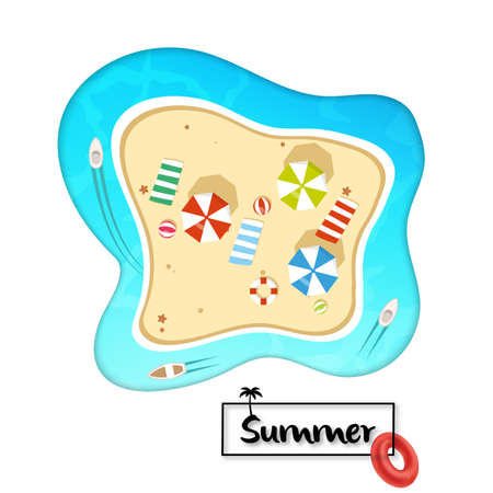 Top view beach with umbrellas, balls, starfish and sea. Aerial view of summer beach in paper craft style. Vector illustration