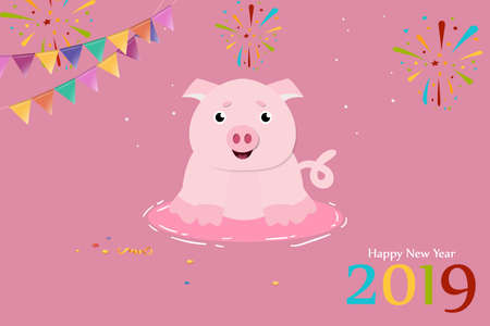 Cute pig for 2019 Chinese New Year. Design for greeting card. Vector illustration  イラスト・ベクター素材