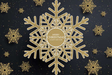 Black christmas banner with golden snowflakes. Vector illustration