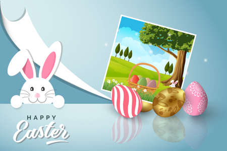 Easter card with painted eggs and snapshot of the spring landscape on blue background. Vector illustration Easter bunny  イラスト・ベクター素材