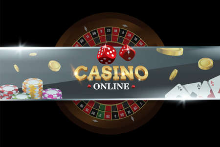 Casino banner with roulette, dice, poker chips, playing cards. Concept on black background. Poker vector illustration for website or mobile apps  イラスト・ベクター素材