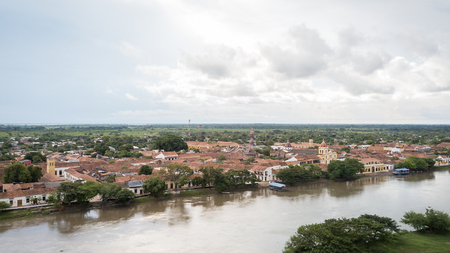 Aerial drone view of Mompox and its river side, a colonial town in Colombia Reklamní fotografie