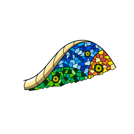 Stylized part of the bench from the Park Guell from the mosaic. Gaudi. Vector. 일러스트