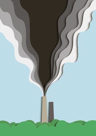 Illustration of environmental pollution. Poisoned smoke from a factory pipe pollutes the air. Vector illustration.