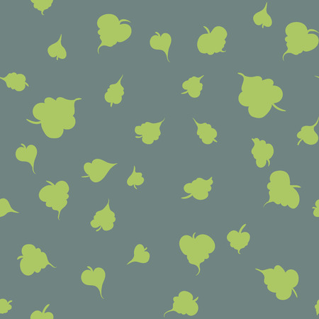 Vector seamless pattern with leaf. Botanical floral backdrop. Gray background.