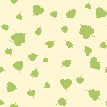 Vector seamless pattern with leaf. Botanical floral backdrop. Beige background.
