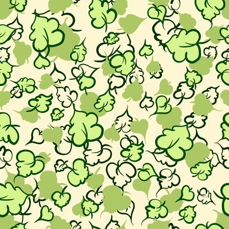 Vector seamless pattern with leaf. Botanical floral backdrop. Beige background.
