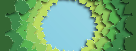 Banner for social networks caps. Green foliage. Abstract background in paper cut style. Vector illustration Illustration
